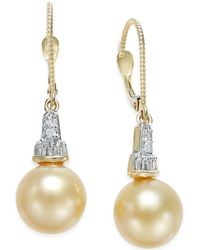 Macy's | Cultured Golden South Sea Pearl (10mm) And Diamond (1/4 Ct. T.w.) Drop Earrings In 14k Gold | Lyst