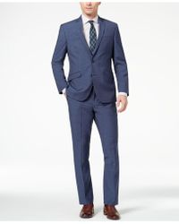 Kenneth Cole Reaction - Techni-cole Slim-fit Stretch New Blue Textured Suit - Lyst