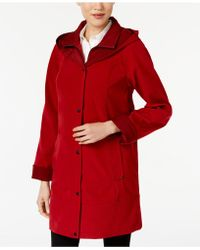 Jones New York - Two-toned Hooded Raincoat - Lyst