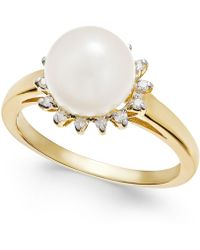 Macy's | Cultured Freshwater Pearl (8mm) And Diamond (1/10 Ct. T.w.) Ring In 14k Gold | Lyst