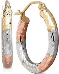 Macy's - Tri-tone Textured Hoop Earrings In 10k Gold, 3/4 Inch - Lyst