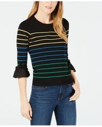 Maison Jules - Striped Ruffled-cuff Sweater, Created For Macy's - Lyst