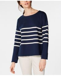 Eileen Fisher - Organic Cotton Striped Box-top - Lyst
