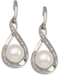 Macy's - Cultured Freshwater Pearl (7mm) And Diamond (1/10 Ct. T.w.) Earrings In 14k Gold - Lyst