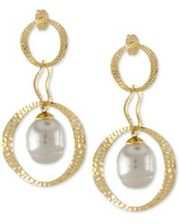 Majorica - Gold-tone & Imitation Pearl Hammered Circle Double Drop Earrings - Lyst