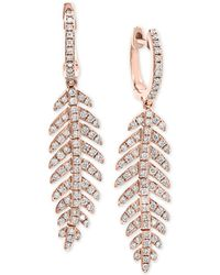 Effy Collection - Effy® Diamond Feather Drop Earrings (7/8 Ct. T.w.) In 14k Rose Gold - Lyst