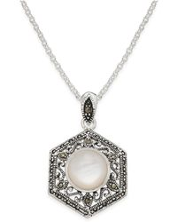 Macy's - Mother-of-pearl And Marcasite Filigree Pendant Necklace In Silver-plate - Lyst