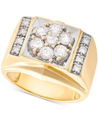 Macy's - Men's Diamond Cluster Ring (1-1/2 Ct. T.w.) In 10k Gold - Lyst
