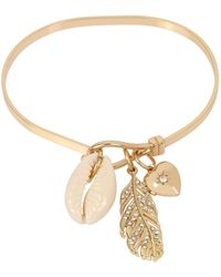 BCBGeneration Feather & Shell Mixed Charm Skinny Bangle Bracelet - Metallic