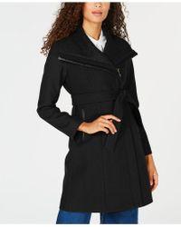 Vince Camuto - Faux-leather-trim Asymmetrical Coat - Lyst