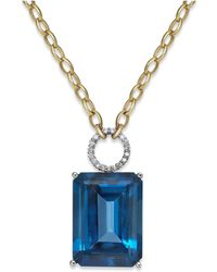 Macy's - Blue Topaz (26 Ct. T.w.) And Diamond (1/6 Ct. T.w.) Pendant Necklace In 14k Gold - Lyst