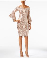 Betsy & Adam - Off-the-shoulder Sequined Dress - Lyst