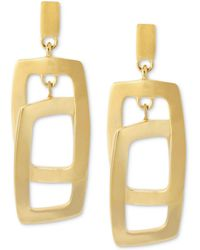 Kenneth Cole - Earrings, Gold-tone Rectangle Link Drop Earrings - Lyst
