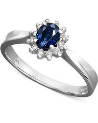 Macy's - 14k White Gold Ring, Sapphire (3/8 Ct. T.w.) And Diamond (1/8 Ct. T.w.) Oval Ring - Lyst