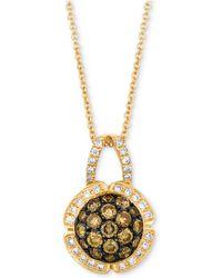 "Le Vian - Chocolatier® Diamond Cluster 18"" Pendant Necklace (7/8 Ct. T.w.) In 14k Gold - Lyst"