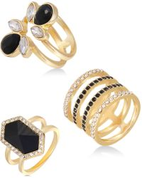 Guess - Gold-tone 3-pc. Set Crystal Multi-row Rings - Lyst
