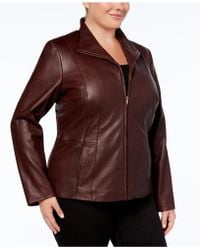 Cole Haan - Signature Plus Size Leather Jacket - Lyst