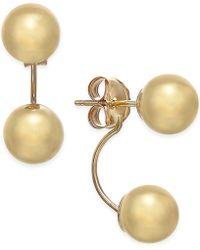 Macy's - Double-ball Drop Earrings In 10k Gold - Lyst