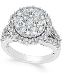 Macy's - Diamond Cluster Engagement Ring (3 Ct. T.w.) In 14k White Gold - Lyst
