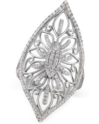 Macy's - Diamond Filigree Ring (1/3 Ct. T.w.) In Sterling Silver - Lyst