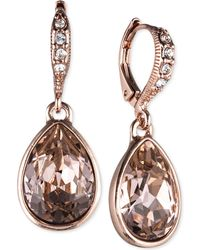 Givenchy | Rose Gold-tone Crystal Drop Earrings | Lyst