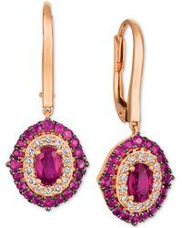 Le Vian - Passion Rubytm (1-5/8 Ct. T.w.) & Diamond (1/3 Ct. T.w.) Drop Earrings In 14k Rose Gold - Lyst