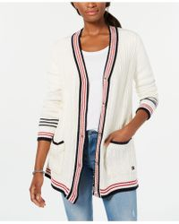 Tommy Hilfiger - Striped-trim Mixed-knit Cardigan, Created For Macy's - Lyst
