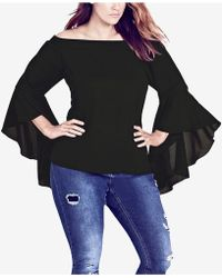 29519d6da81 Lyst - City Chic Trendy Plus Size Cotton Printed Dramatic-sleeve Top ...