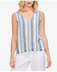 Vince Camuto - Beach Striped Linen V-neck Top - Lyst