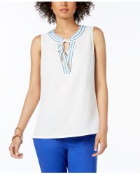 Tommy Hilfiger - Embroidered V-neck Top, Created For Macy's - Lyst