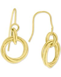 Macy's - Diamond Knot Drop Earrings In 14k Gold - Lyst
