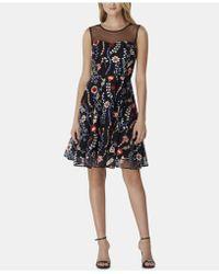 Tahari - Embroidered Floral Mesh Dress - Lyst