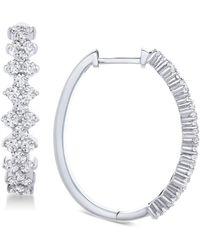Wrapped in Love - Tm Honeycomb Diamond Hoop Earrings (1-1/2 Ct. T.w.) In 14k White Gold, Created For Macy's - Lyst