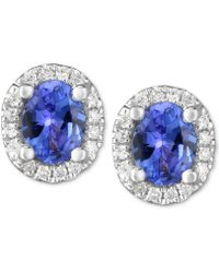 Macy's - Tanzanite (3/4 Ct. T.w.) & Diamond Accent Stud Earrings In 14k White Gold - Lyst