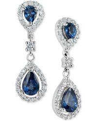 Macy's - Sapphire (1-3/8 Ct. T.w.) & Diamond (3/8 Ct. T.w.) Drop Earrings In 14k White Gold - Lyst