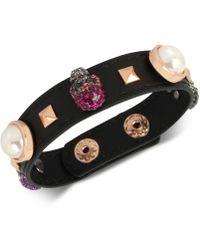 Betsey Johnson - Rose Gold Skull Leather Bracelet - Lyst