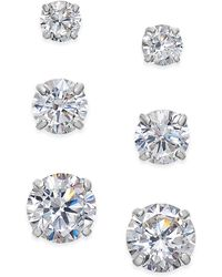 Macy's - Cubic Zirconia 3-pc. Set Graduated Stud Earrings In 14k Gold Or 14k White Gold - Lyst