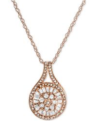 Macy's - Diamond Baguette Cluster Pendant Necklace (1/2 Ct. T.w.) - Lyst