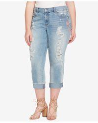 Jessica Simpson - Trendy Plus Size Embroidered Boyfriend Jeans - Lyst