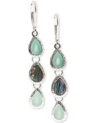Nine West - Silver-tone Multi-stone Triple Drop Earrings - Lyst