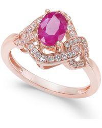 Macy's - Certified Ruby (9/10 Ct. T.w.) & Diamond (1/4 Ct. T.w.) Ring In 14k Rose Gold - Lyst