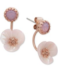 Lonna & Lilly - Gold-tone White Flower Front And Back Earrings - Lyst