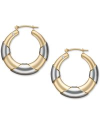 Signature Gold - Diamond Accent Graduated Hoop Earrings In 14k Gold And White Gold - Lyst