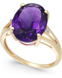 Macy's - Amethyst (5 Ct. T.w.) And Diamond Accent Ring In 14k Gold - Lyst