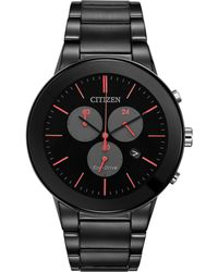 Citizen - Men's Chronograph Axiom Black Ion-plated Stainless Steel Bracelet Watch 43mm At2245-57f - Lyst