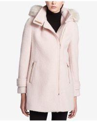 Calvin Klein - Faux-fur-trim Asymmetrical Coat - Lyst