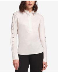DKNY - Grommet Popover Shirt - Lyst