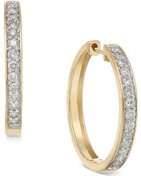 Macy's - Diamond Hoop Earrings (1/2 Ct. T.w.) In 14k White Or Yellow Gold - Lyst