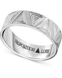 Proposition Love - Unisex Triangle-accent Wedding Band In 14k White Gold - Lyst