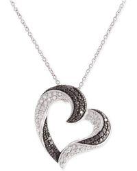 Macy's - Diamond Pavé Heart Pendant Necklace (1/2 Ct. T.w.) In Sterling Silver - Lyst